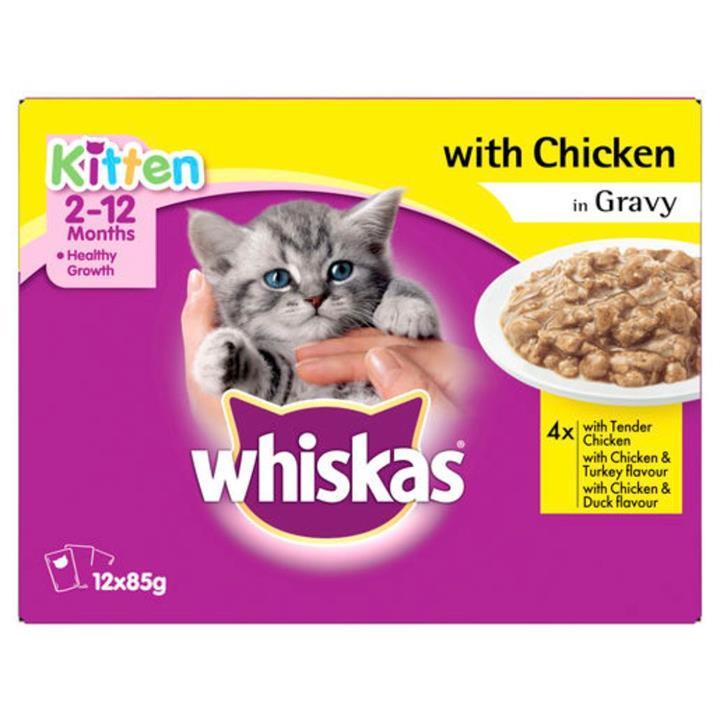 Whiskas Chicken Gravy Kitten Wet Cat Food 12x85g
