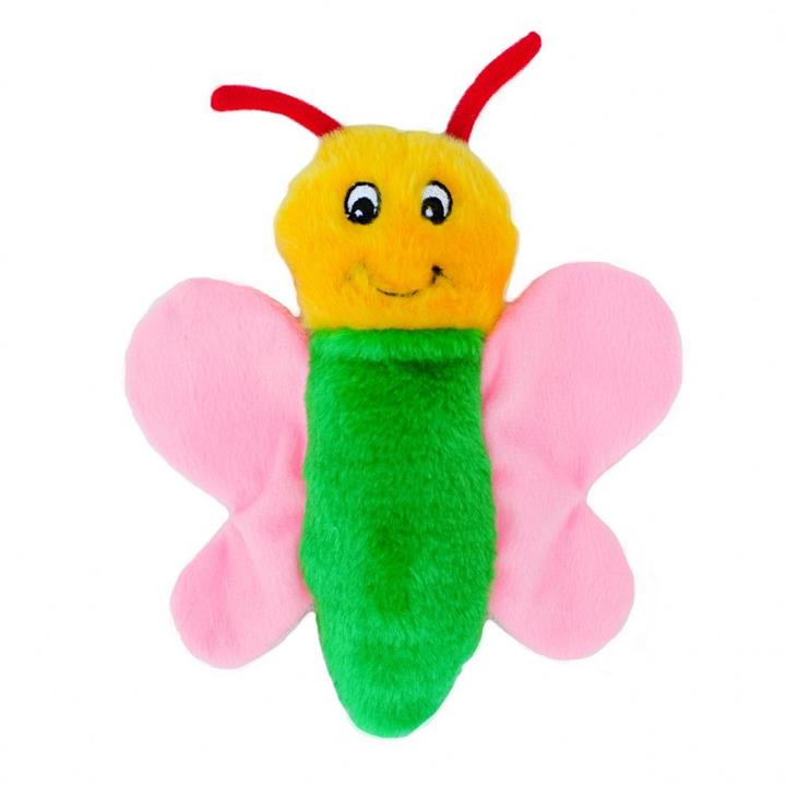 Zippy Paws Crinkle Butterfly Plush Squeaker Dog Toy