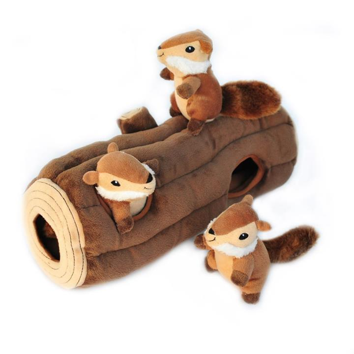 Zippy Paws Interactive Burrow Dog Toy - 3 Chipmunks in a Log