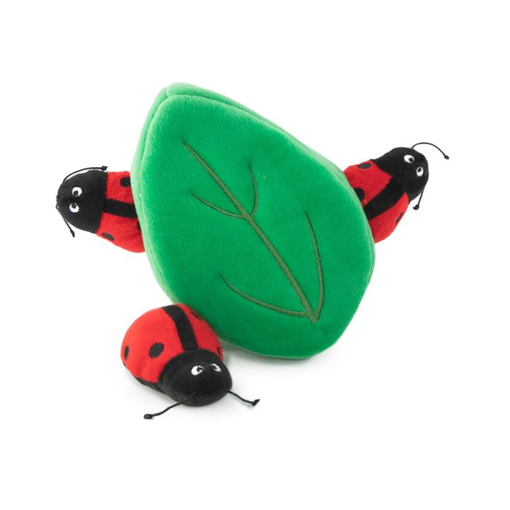 Zippy Paws Interactive Burrow Dog Toy - 3 Ladybugs in a Leaf