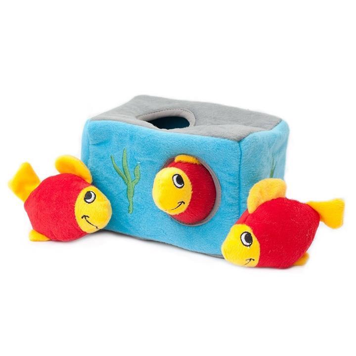 Zippy Paws Interactive Burrow Dog Toy - 3 Squeaker Fish in an Aquarium