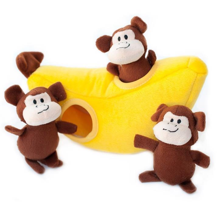 Zippy Paws Interactive Burrow Dog Toy - Monkey 'n Banana