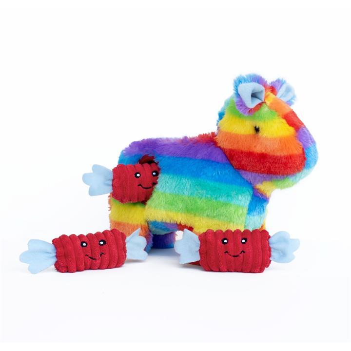 Zippy Paws Interactive Burrow Plush Dog Toy - Rainbow Pinata with Candy