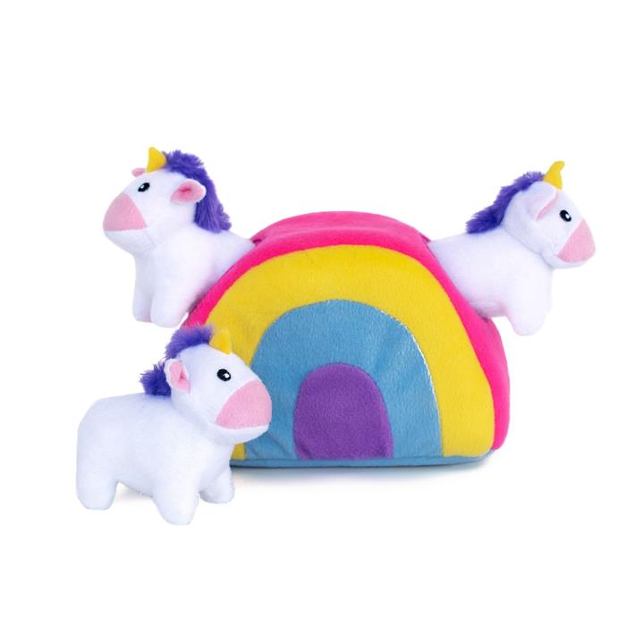 Zippy Paws Interactive Burrow Plush Dog Toy - Unicorns in a Rainbow