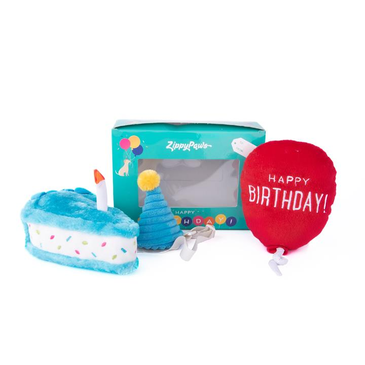 Zippy Paws Plush Squeaker Dog Toy - Birthday Box with Cake, Balloon & Party Hat