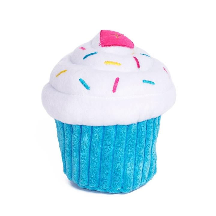 Zippy Paws Plush Squeaker Dog Toy - Cupcake in Blue or Pink - Blue