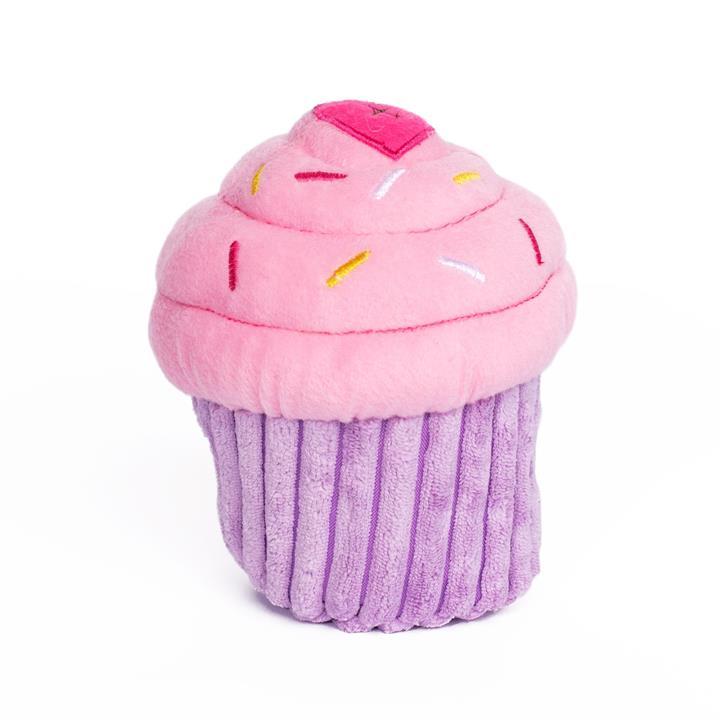 Zippy Paws Plush Squeaker Dog Toy - Cupcake in Blue or Pink - Pink