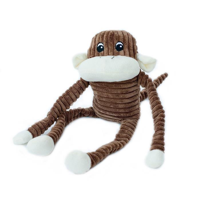 Zippy Paws Spencer the Crinkle Monkey Long Leg Plush Dog Toy - Brown - Large
