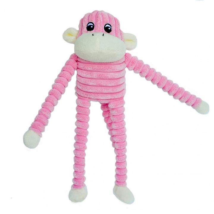 Zippy Paws Spencer the Crinkle Monkey Long Leg Plush Dog Toy - Pink