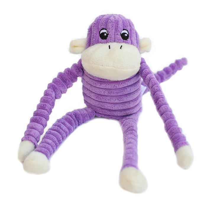 Zippy Paws Spencer the Crinkle Monkey Long Leg Plush Dog Toy - Purple