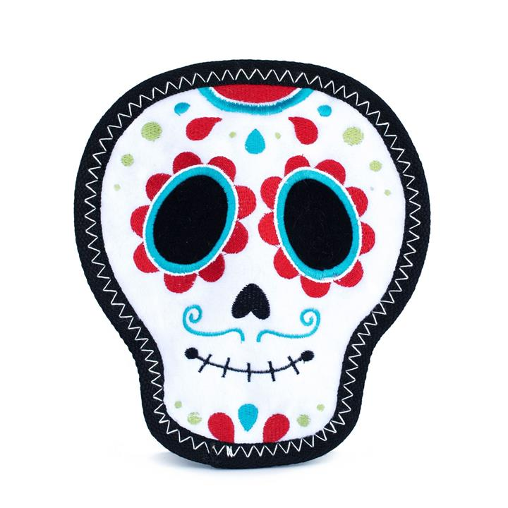 Zippy Paws Tough Z-Stitch Squeaker Dog Toy with No Stuffing - Santiago the Sugar Skull