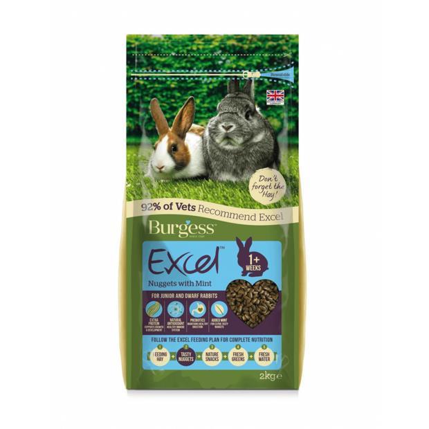 Burgess Excel Rabbit Nuggets Mint Junior Dwarf Rabbits 2kg
